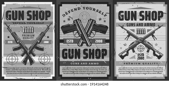 Gun and ammunition shop retro poster. Weapon for self-defense, ammo for shooting range training vintage banner. Crossed handguns, machine guns and assault rifle, bullets and shooting target vector