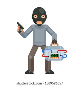 Gun armed terrorist suitcase bomb explosion threat evil greedily character flat isolated design vector illustration