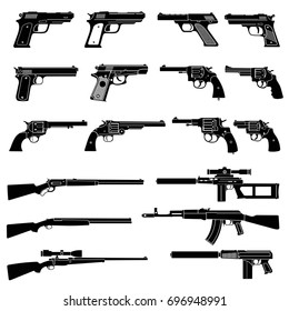Gun and automatic weapon vector icons. Military combat firearms pictograms. Gun and automatic weapon, rifle and firearm, vector illustration