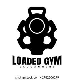 gun barrel gym creative logo icon design vector