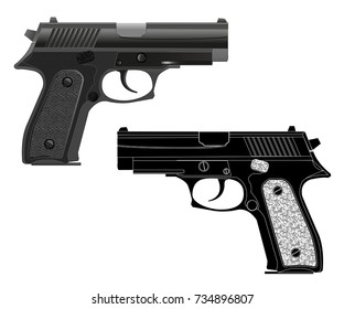 Gun. Black and white silhouette. Vector illustration, isolated on white