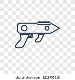 Gun Blaster concept vector linear icon isolated on transparent background, Gun Blaster concept transparency concept in outline style