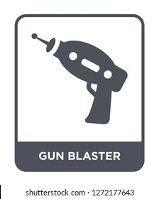 gun blaster icon vector on white background, gun blaster trendy filled icons from Astronomy collection, gun blaster simple element illustration