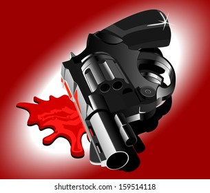 gun and blood. vector illustration