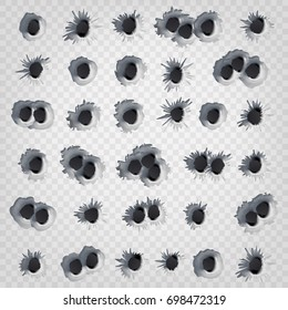 Gun Bullet Holes In Metal Wall Vector. Realistic Gun Weapon Bullet Hole Isolated On Transparent Background. Fire Gunshot Effect. Damage Illustration