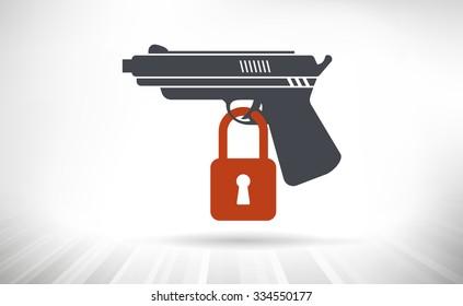 Gun Control Concept. Handgun illustration with padlock locking the trigger.