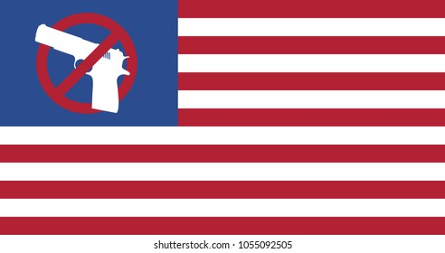 Gun control movement. Creative USA flag with gun and no guns or weapons sign instead of stars