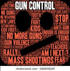 Gun Control word cloud on a black background.