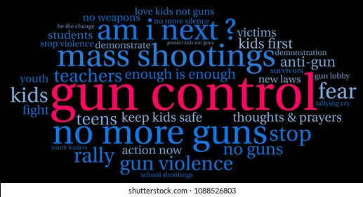 Gun Control word cloud on a black background.