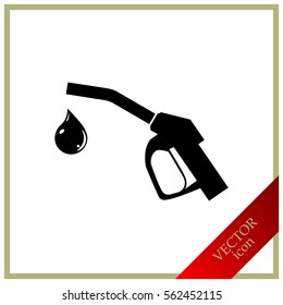 Gun for fuel pump with a drop of fuel, vector icon