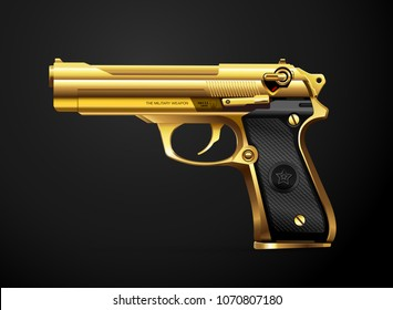 gun gold metal weapon vector illustration