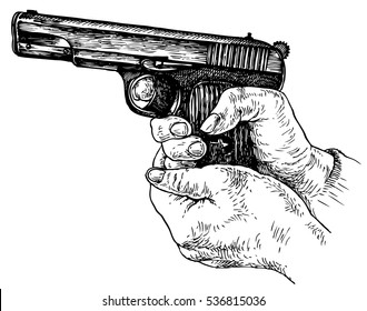 Gun in hand - hand drawn vector illustration, isolated on white