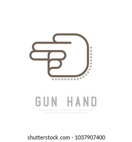 Gun Hand finger with dot shadow logo icon, sign language concept outline stroke flat design brown and grey color illustration isolated on white background with copy space, vector eps 10