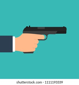 The gun is in his hand. The hand holds the gun. Flat design, vector illustration, vector.