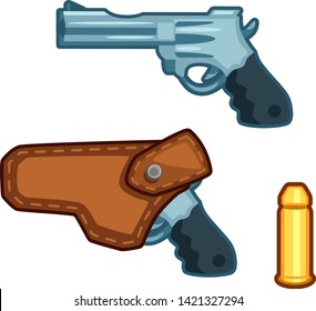 Gun with holster and bullet, cartoon vector icon