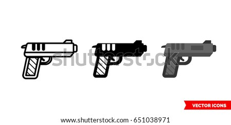 Gun icon of 3 types: color, black and white, outline. Isolated vector sign symbol.