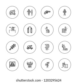 Gun icon set. collection of 16 outline gun icons with cannon, detective, harpoon, gun, hunt, nunchaku, paintball, pirates, pirate icons.