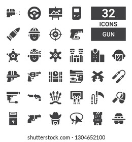 gun icon set. Collection of 32 filled gun icons included Detective, Arcade game, Lasso, Sheriff, Gun, Weapon, Painting, Weapons, Nunchaku, Pistol, Dinamite, Water Police