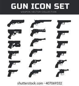 Gun icon set. Weapon vector collection.