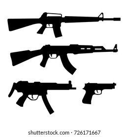 Gun icon , weapon silhouette vector