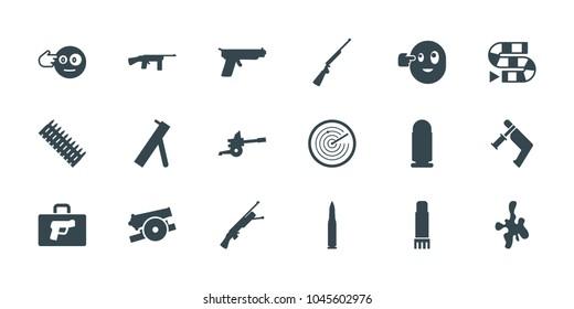 Gun icons. set of 18 editable filled gun icons: head bang emot, dice game, glue pen, cannon, bullet, ammo, briefcase with weapon, radar