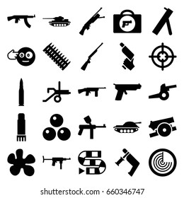 Gun icons set. set of 25 gun filled icons such as briefcase with weapon, radar, head bang emot, glue pen, cannon, canon ball, bullet, ammo, tank, sniper target, dice game