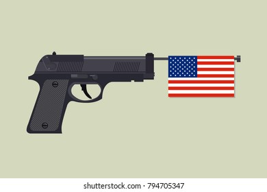 Gun laws in America, 2nd Amendment. Vector flat 2D illustration of gun with american flag.