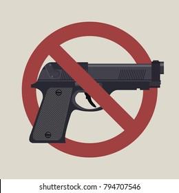 Gun laws, No hand gun ban symbol. Vector flat 2D illustration of a no firearms symbol.