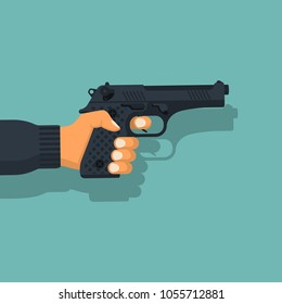 Gun in man. Pistol hold in hand male. Firearms isolated on background. Man is armed for protection or attack. Vector illustration flat design. attacker or cop.