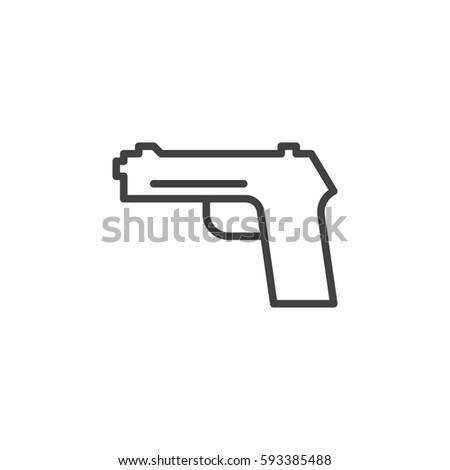 Gun Pistol Handgun Line Icon Outline Stock Vector Royalty Free