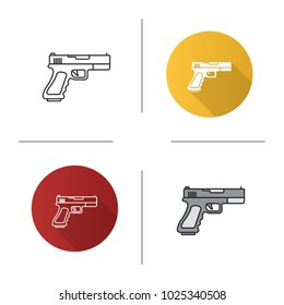 Gun, pistol icon. Flat design, linear and color styles. Firearm. Isolated vector illustrations