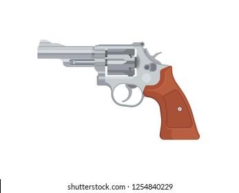 Gun pistol revolver isolated on white background. Vector illustration
