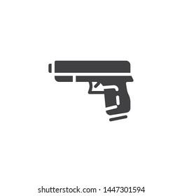 Gun, pistol vector icon. Hand Gun Weapon filled flat sign for mobile concept and web design. Military handgun glyph icon. Symbol, logo illustration. Vector graphics