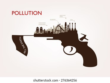 gun with plants pollution. the concept of ecology