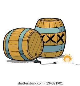 gun powder barrel cartoon illustration