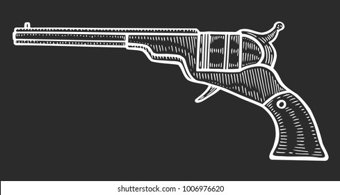 Gun revolver handgun pistol drawing in a vintage retro woodcut etched or engraved style. Hand drawn vector illustration isolated on black background