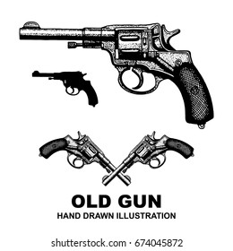 Gun revolver. Handgun, six shooter pistol. Hand drawing illustration drawing in a vintage retro engraved style.