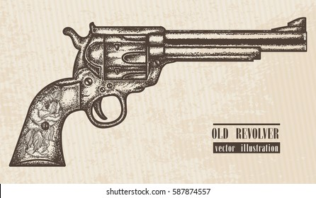Gun revolver vintage graphic hand drawn vector. Old revolver engraved style