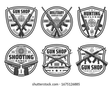 Gun and rifle with target shield badges of hunting sport club, ammo shop and shooting range vector design. Military weapons of army pistols and firearms, hunter shotgun with bullets and cartridges