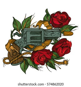Gun and rose colored illustration for tattoo and design T-shirts and other items. Old school sketch on a white background.