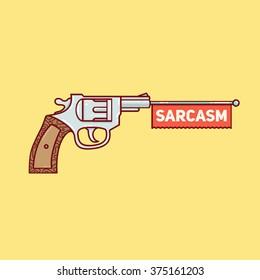 Gun sarcasm on a yellow background