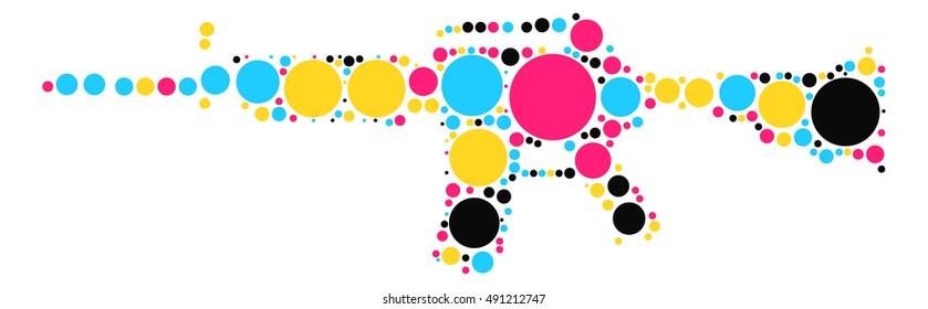 gun shape vector design by color point