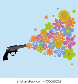 A gun shooting colorful flowers