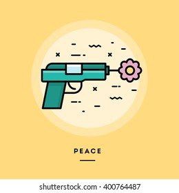 Gun shooting flower, flat design thin line banner, usage for e-mail newsletters, web banners, headers, blog posts, print and more