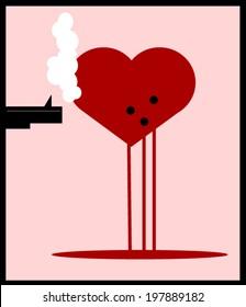 gun shooting heart with smoke coming from barrel