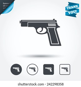 Gun sign icon. Firearms weapon symbol. Circle and square buttons. Flat design set. Thank you ribbon. Vector