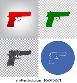 Gun sign illustration. Vector. 4 styles. Red gradient in radial lighted background, green flat and gray scribble icons on transparent and linear one in blue circle.