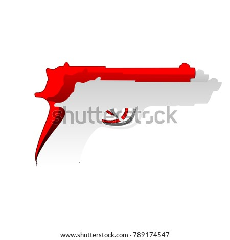 Gun Sign Illustration Vector Detachable Paper Stock Vector