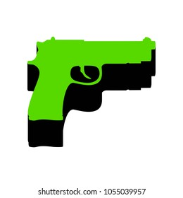 Gun sign illustration. Vector. Green 3d icon with black side on white background. Isolated.