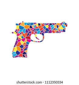 Gun sign illustration. Vector. Stained glass icon on white background. Colorful polygons. Isolated.